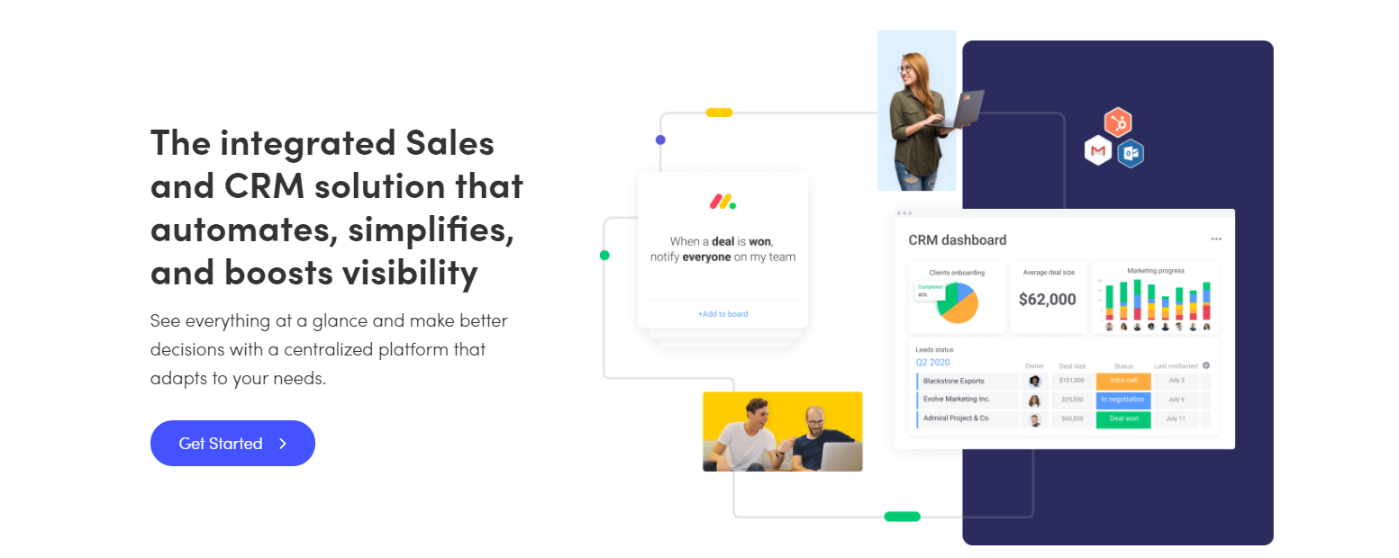 integrated sales and CRM solution monday.com