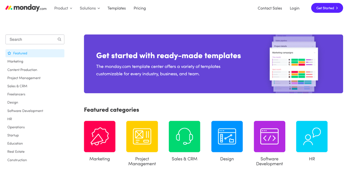 Screenshot of monday.com template center