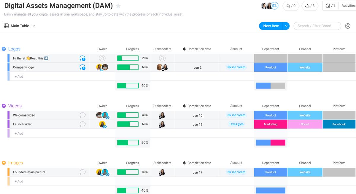 Image of monday.com's digital assets management (DAM) template