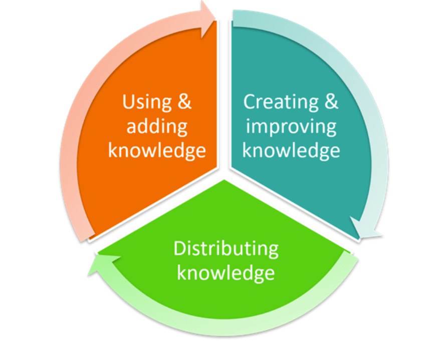 Pie chart showing 3 components of knowledge management