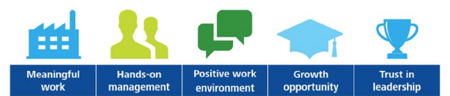 5 icons and text showing employee engagement factors