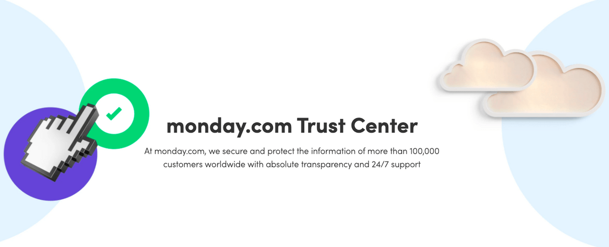 Screenshot of monday.com's trust center