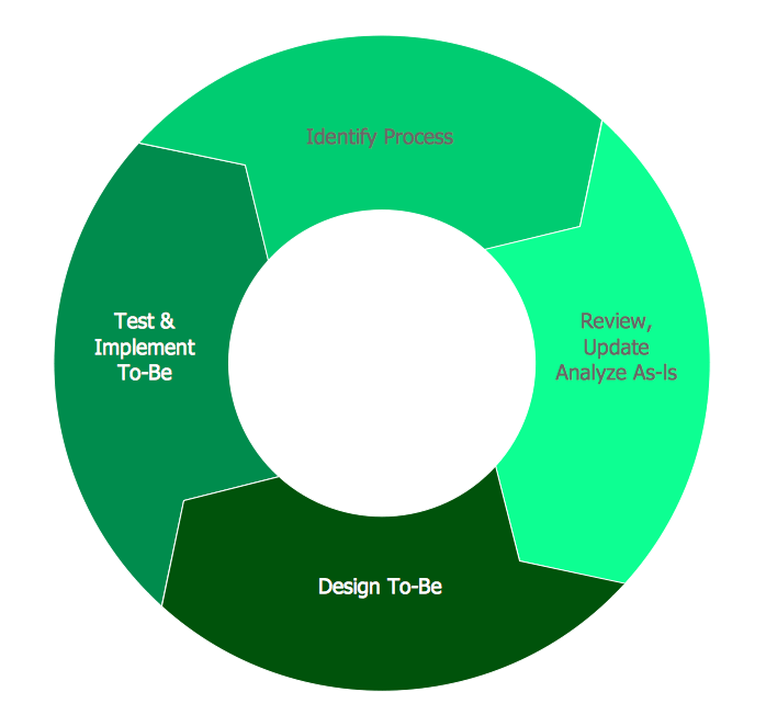 Visual representation of the business process reengineering cycle