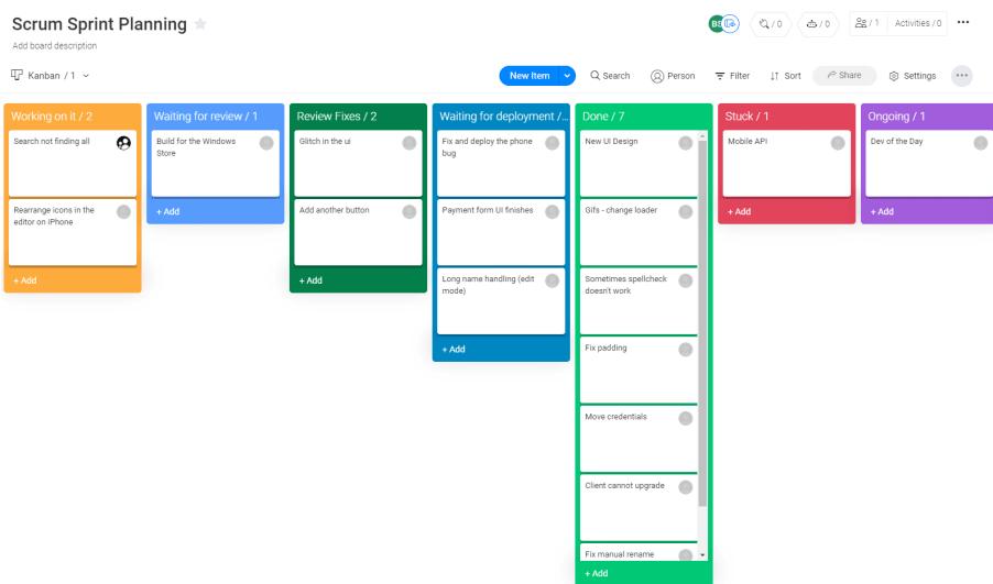 monday.com Scrum workflow