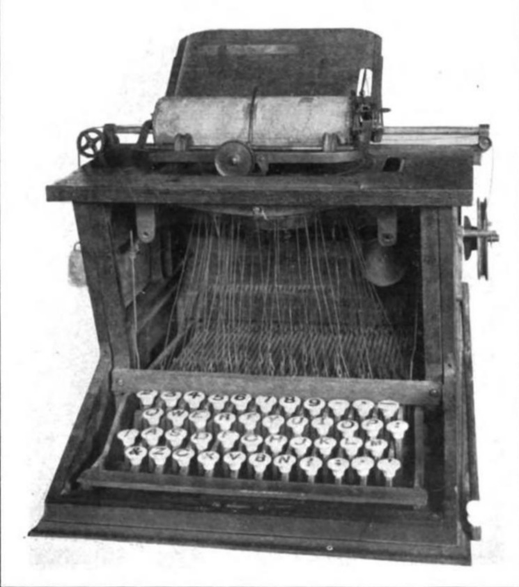 The first recognizable typewriter, created by Christopher Latham Sholes