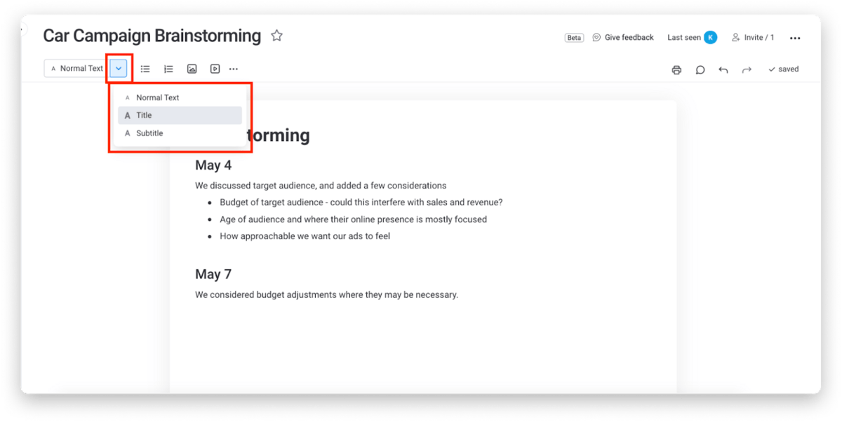 Customizing and formatting text in monday.com Docs