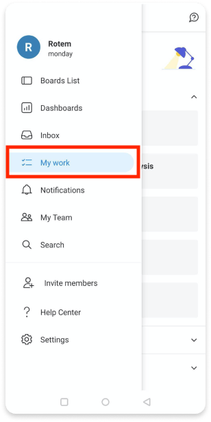 monday.com's mobile app's UI