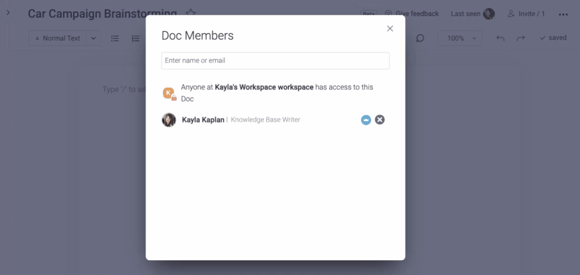 Adding members to a document in monday.com Docs