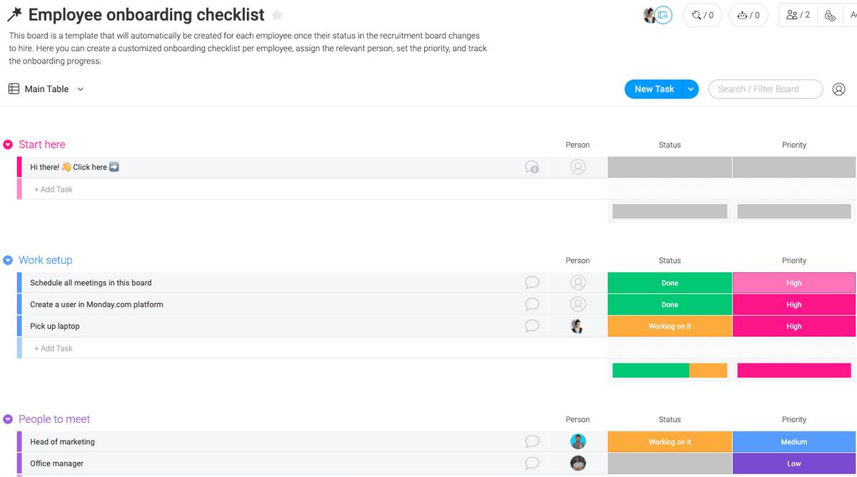 Screenshot of monday.com's employee onboarding checklist template