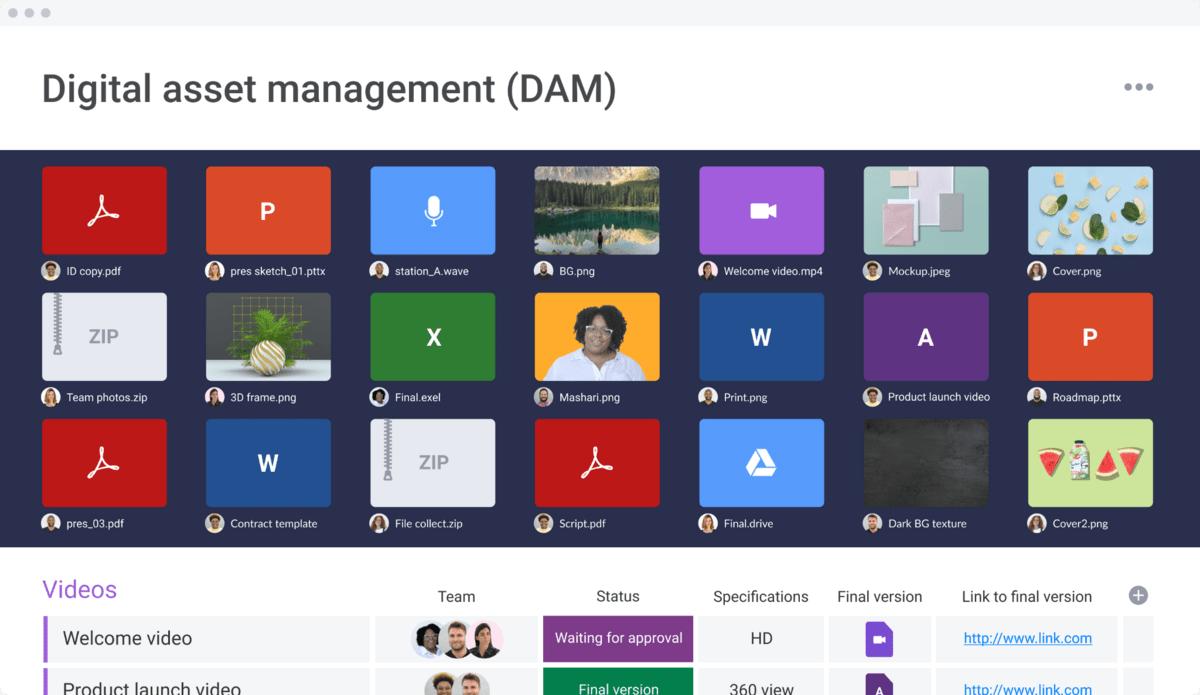 monday.com's digital asset management (DAM) template storing a variety of files