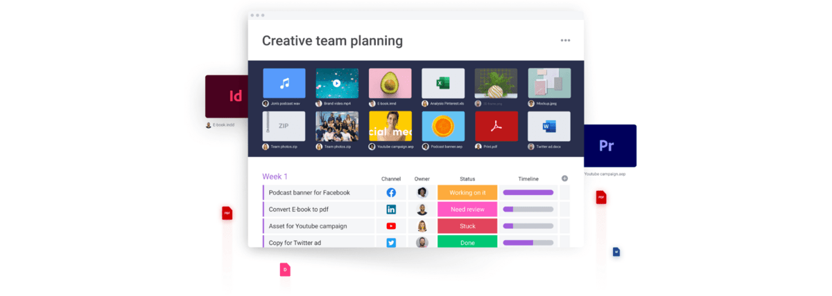 monday.com visual showing the interface managing creative files and documents