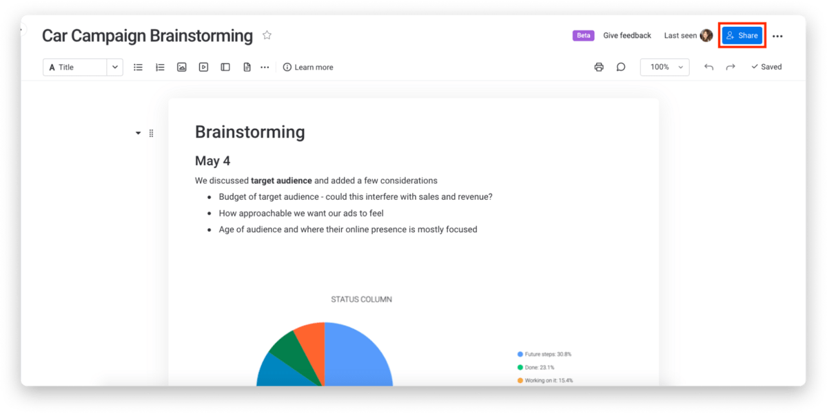 monday.com allowing users to share the workdoc