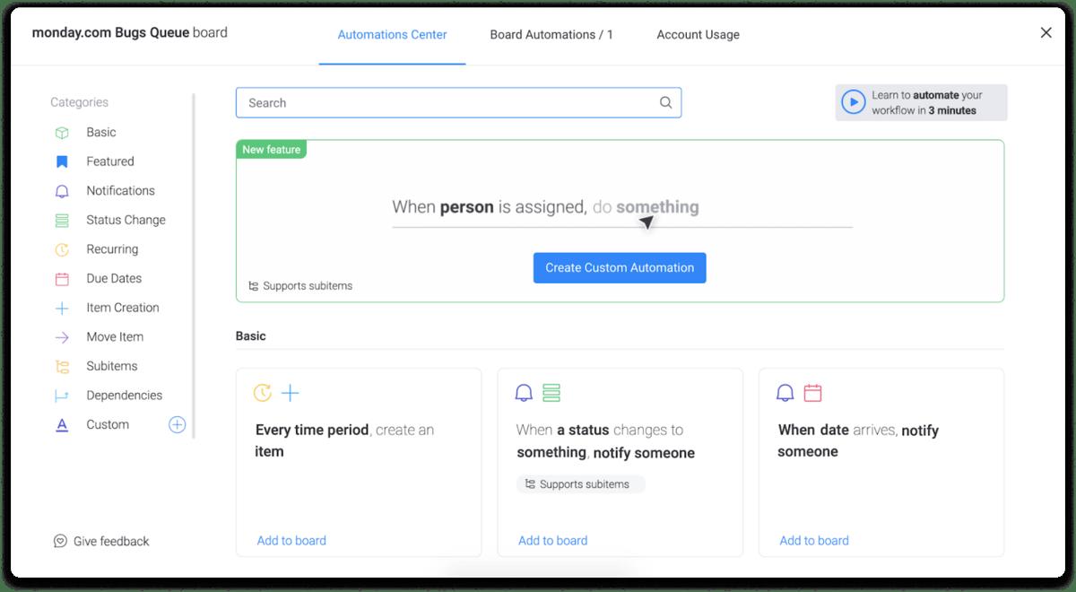 monday.com's automations center screenshot